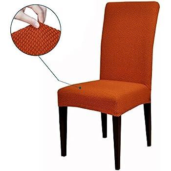 Subrtex Jacquard Stretch Dining Room Chair Slipcovers 4 Orange