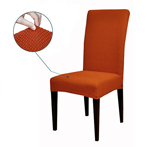 Subrtex Jacquard Stretch Dining Room Chair Slipcovers (4, Orange Jacquard)