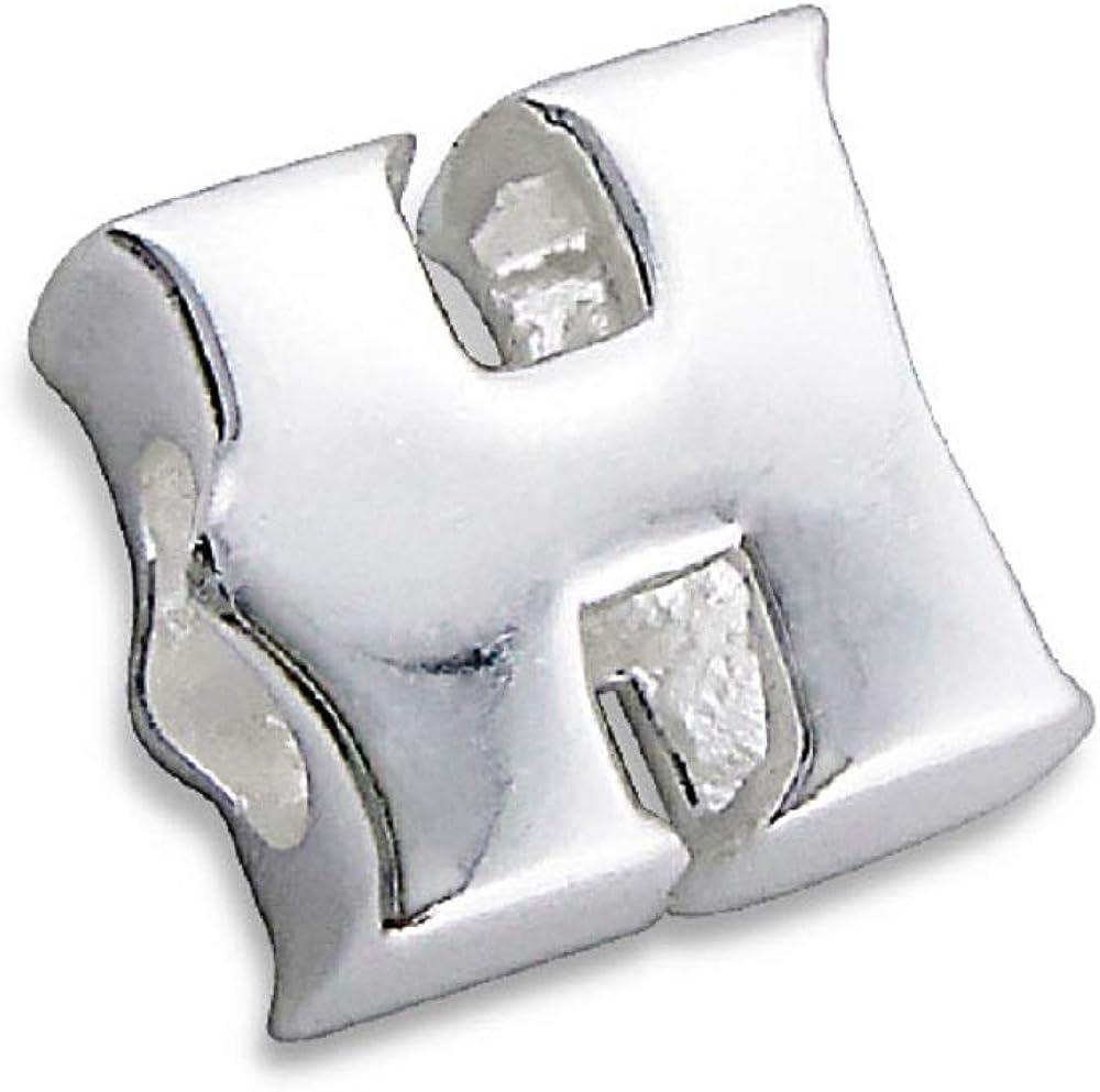 /Argent Sterling 925/3d Charm Bead-with Sac cadeau Argent Belle Lettre//initiale//lettres de lalphabet H/