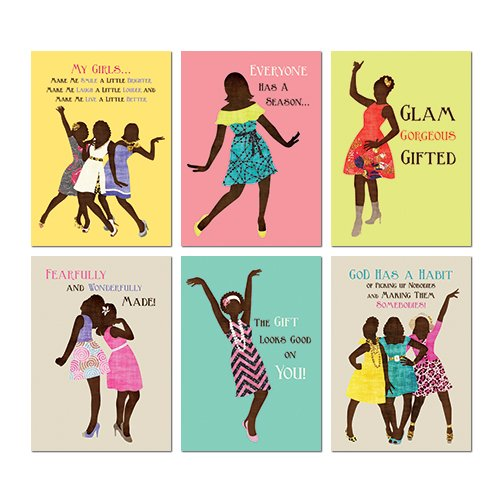 African American Expressions - Sister Friends All Occasion Boxed Cards Assortment #7 (Box of 12 cards, 5