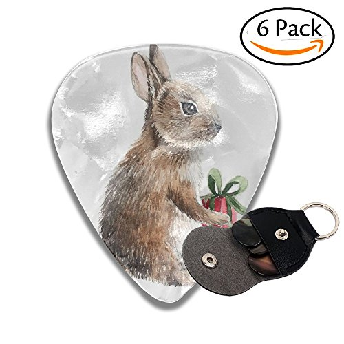 Zakk Wylde Les Paul Guitar - Wxf Easter Rabbit Holding A Red Giftbox Hand Drawn Watercolor Illustration Colorful Celluloid Guitar Picks Plectrums For Guitar Bass .46mm 6 Pack