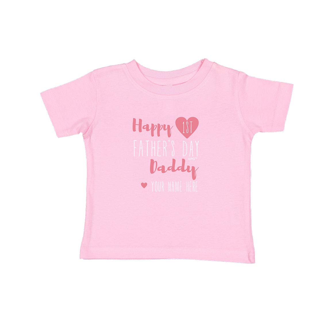 Personalized Gifts Happy First Fathers Day Daddy Pink Heart Infant T-Shirt
