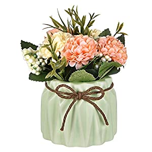 Sunm Boutique Artificial Hydrangea Bouquet with Small Ceramic Vase, Artificial Hydrangea Flower Potted Fake Variety Silk Flower Bonsai for Table Party Office Wedding Home Decor, Green