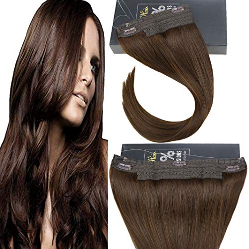 Sunny Halo Human Hair Extensions No Glue One Piece Extensions Color #4 Brown Invisible Wire Hair Extensions Remy Hair 14 inch 80g/pack
