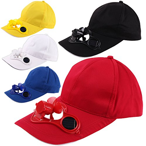 Cheapest Price! Peaked Cap Hat Summer Baseball Hat with Solar Powered Fan Cooling Fan Cap for Campin...