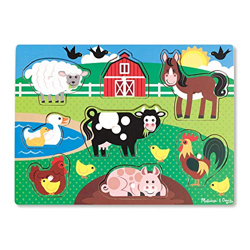 Melissa & Doug Farm Wooden Peg Puzzle (8 Pieces) (Animal Shapes Puzzle)