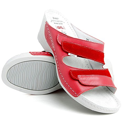 Mix Cuero Rojo Mujer Para Batz Mariann Sandalias Zuecos De Fwxq874v