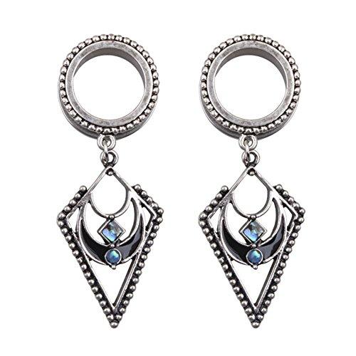 (HongWangDZSW Stainless Steel Opal Earrings Dangle Jewelry Screw Ear Plugs Tunnels Gauges (1 Pair))