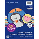 "Pacon PAC6555 Lightweight Construction Paper, 10 Assorted Colors, 9"" x 12"", 500 Sheets"