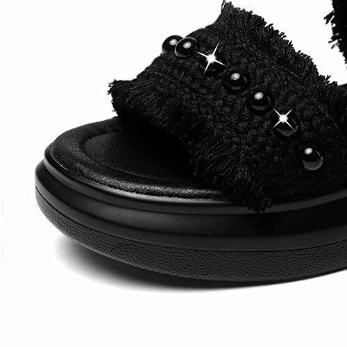 sandalias plana Charm plataforma mujeres cuentas negras estilo las Nuevo de informales de Carolbar con YRxSPqw