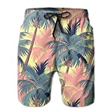 LXP FZD Coconut Palm Sunset Men's Swim Trunks Printed Surf Board Shorts Beach Pant Sportswear