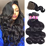 9A Brazilian Body Wave Bundles With Closure Virgin Hair 3 Bundles 100% Unprocessed Remy Human Hair Weave Weft Extensions Natural Color 300g by Originea (16''18''20''+14''closure)
