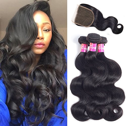 Originea Brazilian Body Wave Bundles With Closure 12 14 16 +10 Virgin Hair 3 Bundles 100% Unprocessed Remy Human Hair Weave Weft Extensions Natural Color 300g(12''14''16''+10''closure)