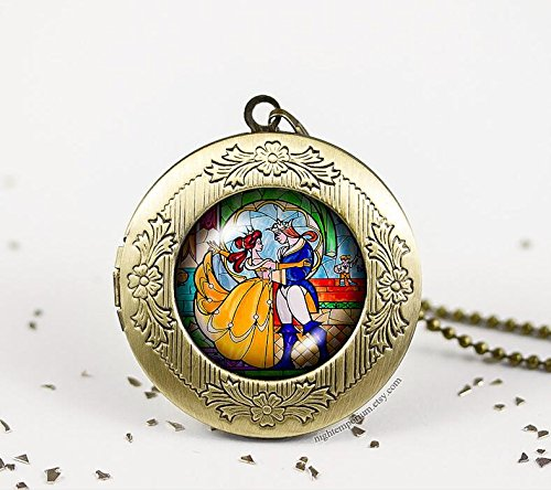 Fashion Stained glass beauty and the beast dome bronze silver vintage locket photo pendant necklace beauty childhood dream princess dance (Dance Costume Designer Online)
