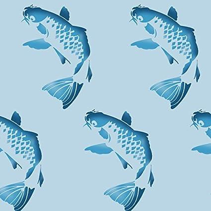 M//25X37CM Koi Karpfen Fisch au/ßenschablone halb geschliffen Durchsichtig Schablone JAPANISCH FISCH Aquatische Wand Deko Farbe W/ände Stoff /& M/öbel wiederverwendbar ideal Stencils LTD