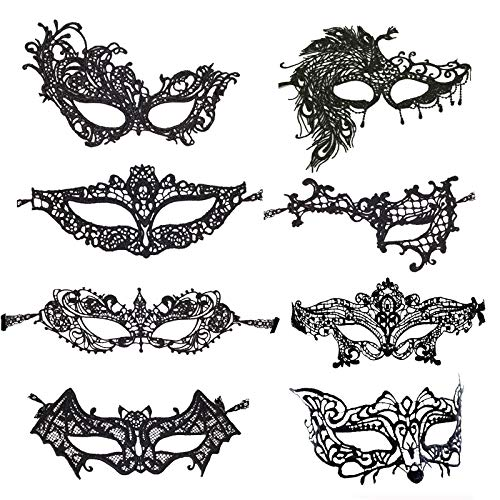 Metable Lace Eye Mask Sexy Eyemask Women Make Up Mysterious Mask for Halloween Carnival Masquerade Party Favors Set of 8 -
