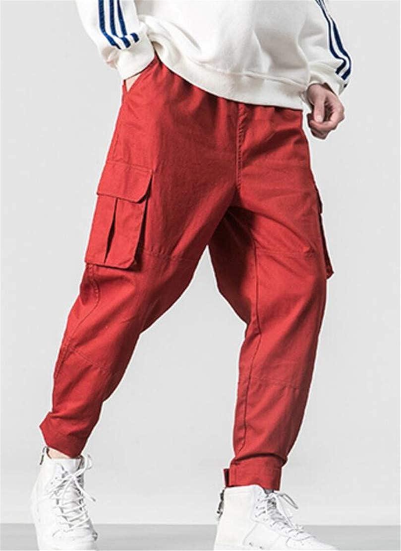 Spirio Mens Plus Size Pockets Drawstring Jogger Multi Pockets Cargo Pants