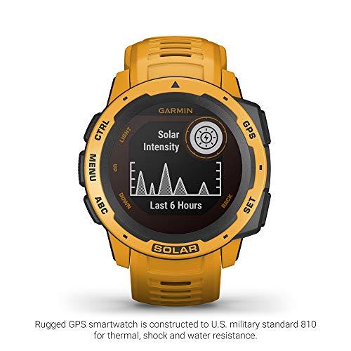 Garmin Instinct Solar, Solar-Powered Rugged Outdoor Smartwatch, Built-in Sports Apps and Health Monitoring, Sunburst Yellow