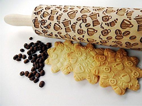 COFFEE STYLE Embossing Rolling Pin. Pattern with Coffee. Laser engraved rolling pin. COFFEE pattern rolling pin. Latte. Moka