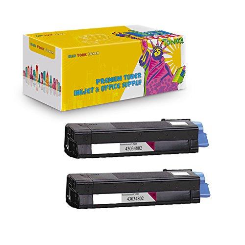 (New York TonerTM New Compatible 2 Pack 43034802 High Yield Toner For OKI : C3100   C3100n. --Magenta)
