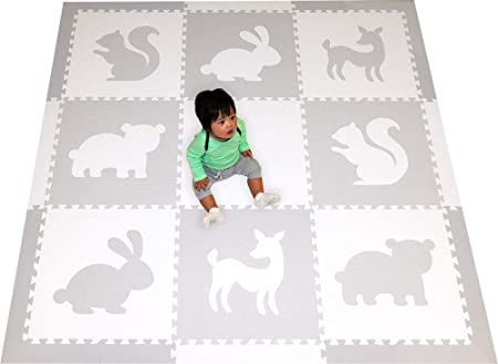 SoftTiles Woodland Animals Foam Playmat Kids Floor Mats Non-Toxic Baby Play Mat w Sloped Edges for Playrooms and Nursery- Extra Thick 2 Foot Floor Tiles- 6.5 x 6.5 ft White, Light Gray SCWOOWH