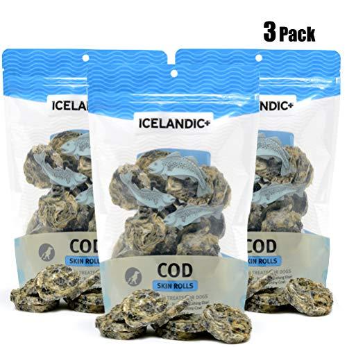 Icelandic+ Cod Skin Rolls Dog Treat 3-oz Bag (Bulk Pack of 3-3-oz Bags) ()