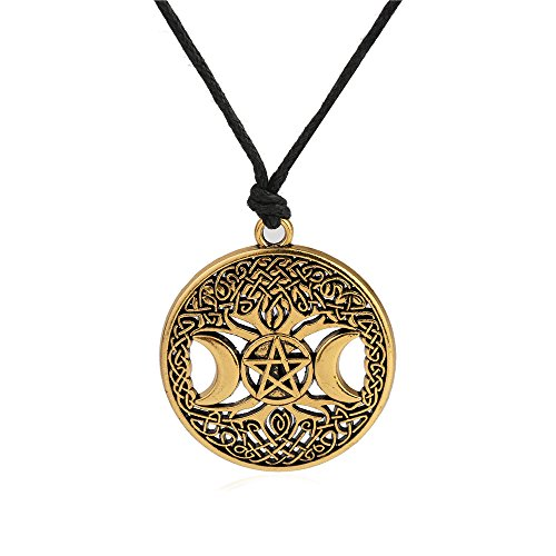 Chain Triple Rope (Wicca Triple Moon Goddess Pentacle adjustable rope chain pendant necklace (Antique Gold))