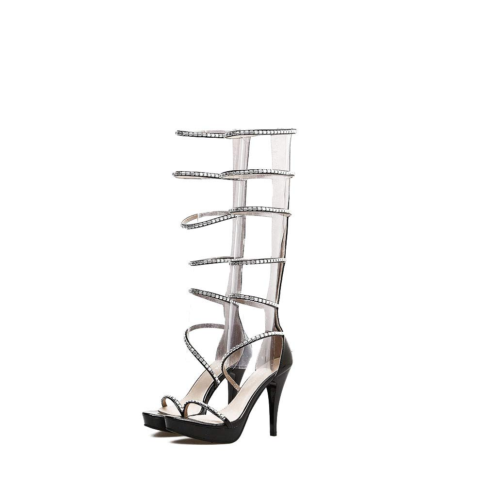 Black Sandals High Heel, shoes Open Toe Lace Up Heeled Sandals Womens Strappy Cut Out High Heel Ladies Back Lace Up Peep Toe Sandals,White,36