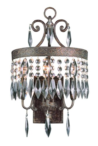 Trans Globe Lighting Crowned Crystal 3-Light Sconce, Dark Bronze ()