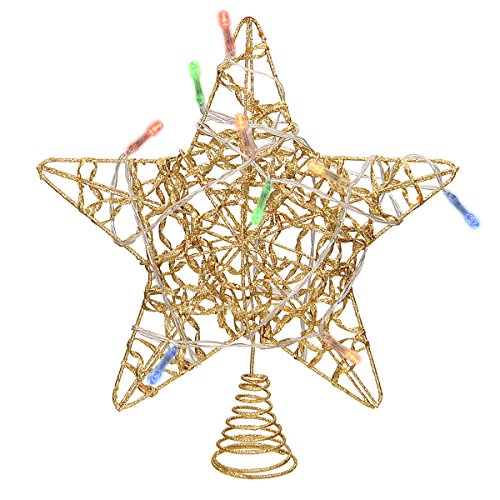 LimBridge Christmas Lighted Star Tree Topper, 10-Inch Gold Ribbon Treetop with Colorful 10 Lights (Colorful Christmas Trees)