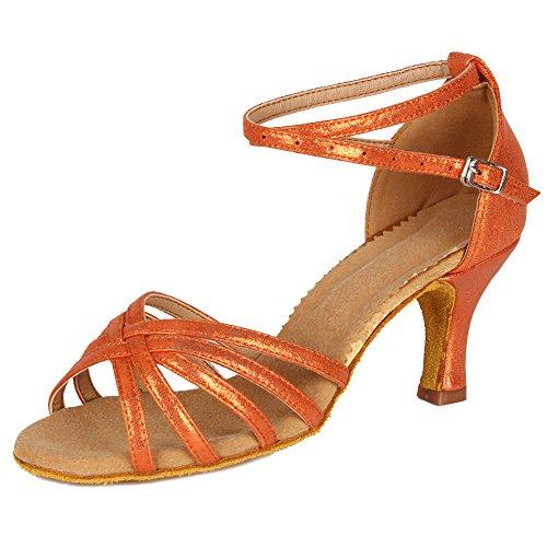 Es Estándar Mujer Baile 7cm tacón Naranja Latino Satén Ballroom Zapatos De Modelo niñas 1810 55qURnwrxz