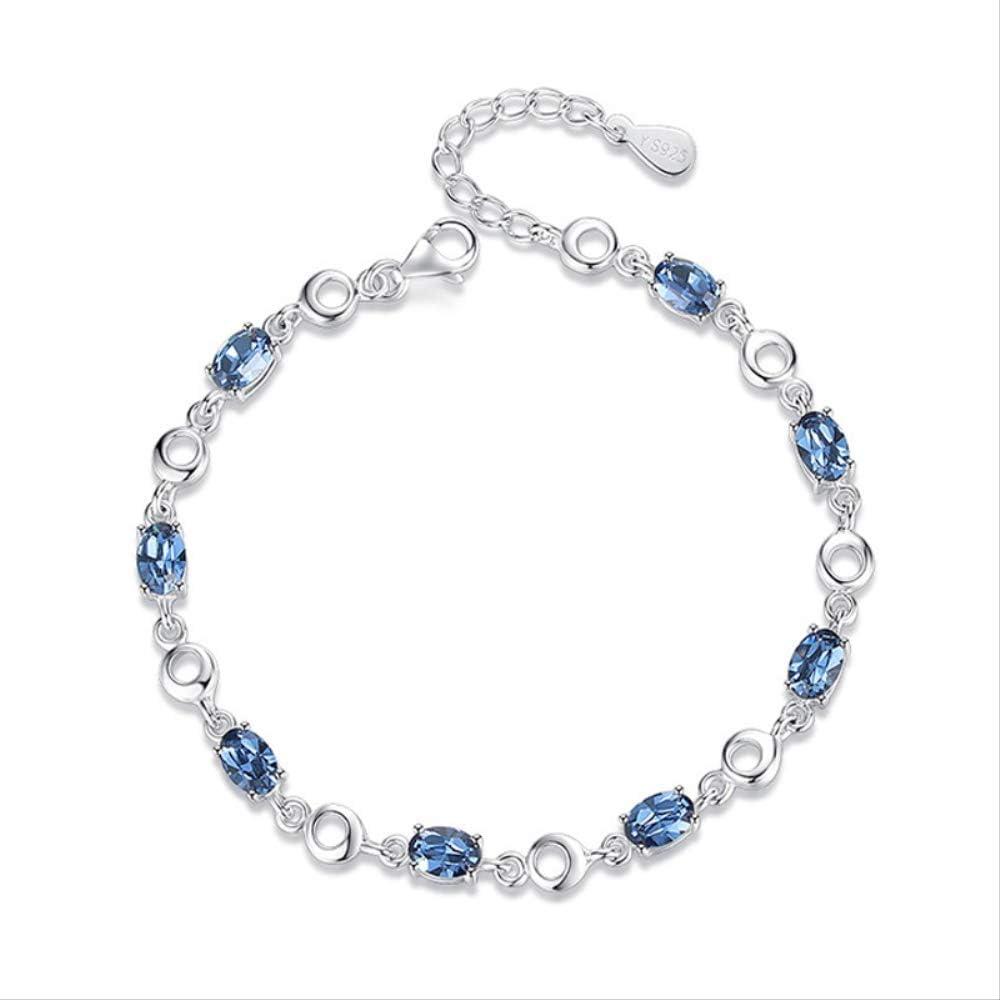 Nobrand Pulseras De Topacio Azul Aguamarina para Mujer Pulsera De Piedras Preciosas De Plata Esterlina Azul Real 925 para Regalo De Cumpleaños del Estudiante 19 Cm