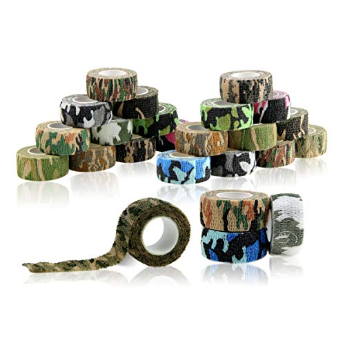 AUPCON Self Adherent Bandage Wrap Self Adhesive Cohesive Stick Bandage Tape Non-Woven Elastic Bandage Wrap for Pet Animal First Aid and Fingers & Toes,FDA Approved 1inx5 Yards (Camo, 24 Rolls)