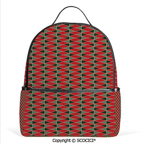 All Over Printed Backpack Christmas Inspirations in Geometric Rectangles Vivid Palette,and Almond Green Red,For Girls Cute Elementary School Bookbags ()