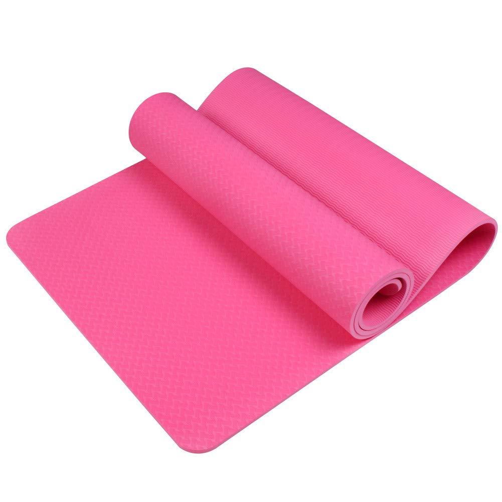 Argent GHUUO Yoga Mat Tapis De Yoga Antidérapant 6Mm TPE Tapis De Yoga De Sport Fitness Pilates Gymnastique élargissement épaississement Pad