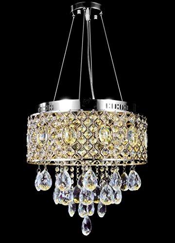 Top Lighting Modern LED Crystal Chandelier Chrome Finish Pendant Hanging or Flush Mount Ceiling Lighting Fixture, 3 light colors in one Smart Lamp, #571