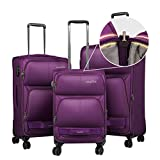 Windtook 3 Piece Luggage Sets Expandable Spinner Suitcase Bag for Travel and Business (8050-Purple-YKK)