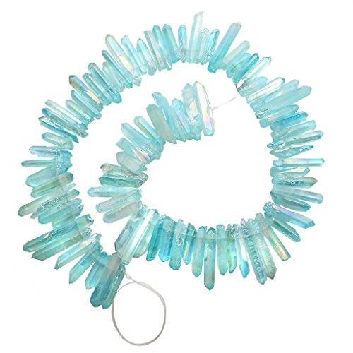 Top Plaza Natural Raw Rock Crystal Quartz Rough Crystals Points Titanium Coated Sticks Spikes Irregular Drilled Loose Beads 15-16'' Strand(Rough AB ()