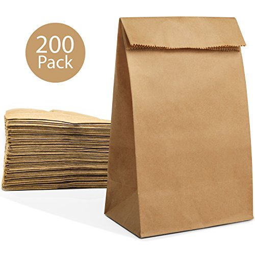 200 Paper Lunch Sandwich Bags, 4 lb Capacity Kraft Disposable Grocery Brown Bags
