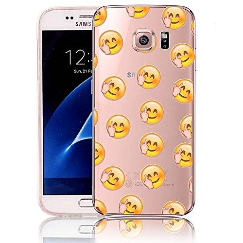 Funda Doble para Samsung Galaxy S6, Vandot Bling Brillo Carcasa Protectora 360 Grados Full Body | TPU en Transparente Ultra Slim Case Cover | Protección Completa Delantera y Trasera Cocha Smartphone M Emoji 8