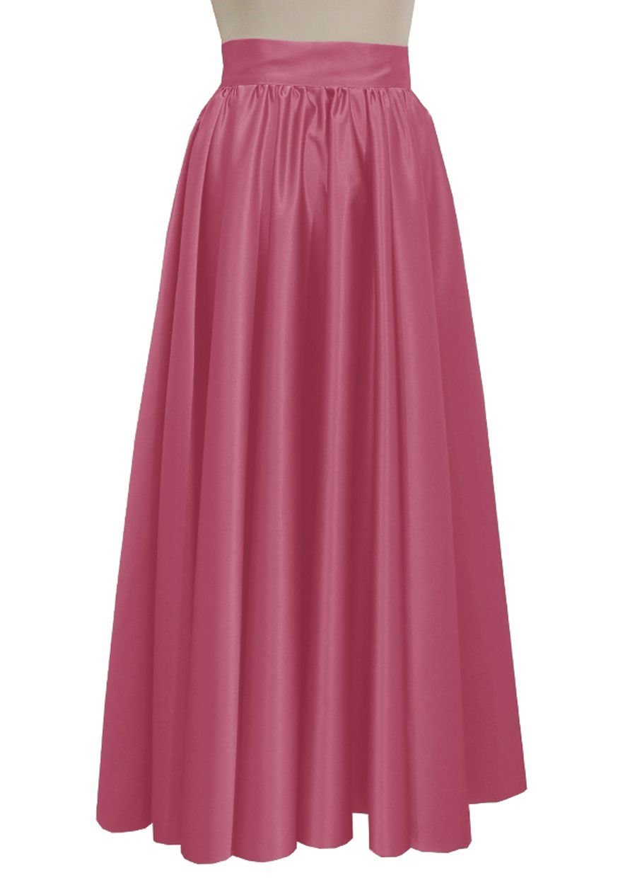 E K Women duchess maxi skirt Formal prom evening wedding bridesmaid long skirt-Pink xs by E K