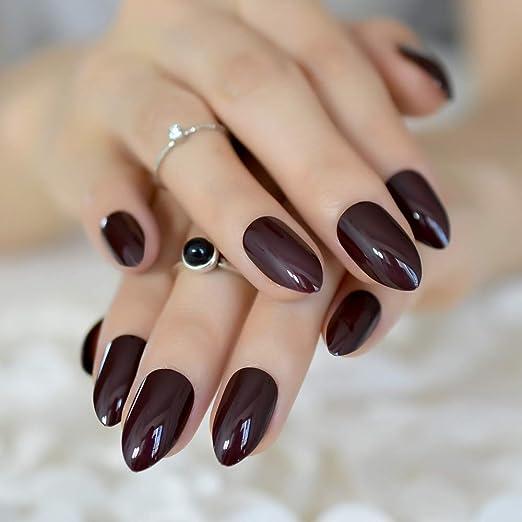 EchiQ uñas postizas cortas ovaladas afiladas color marrón oscuro falso uñas Stiletto marrón-negro puntiagudas puro color UV gel almendra desgaste puntas ...
