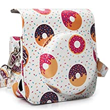 [Fujifilm Instax Mini 90 Case]—Woodmin Groovy PU Leather Fuji Instant Camera Case with Shoulder Strap (Donut)