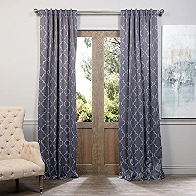 "HPD Half Price Drapes BOCH-KC21-84 Blackout Room Darkening Curtain (1 Panel), 50 X 84, Seville Grey & Silver - Sold Per Panel 100% Polyester 3"" Pole Pocket with Back Tabs - living-room-soft-furnishings, living-room, draperies-curtains-shades - 51rFdFnGFnL. SS400  -"