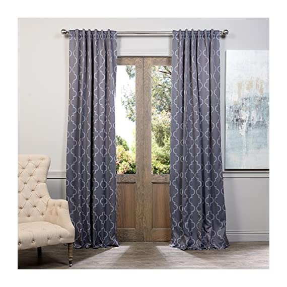 """HPD Half Price Drapes BOCH-KC21-84 Blackout Room Darkening Curtain (1 Panel), 50 X 84, Seville Grey & Silver - Sold Per Panel 100% Polyester 3"""" Pole Pocket with Back Tabs - living-room-soft-furnishings, living-room, draperies-curtains-shades - 51rFdFnGFnL. SS570  -"""
