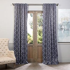 Half Price Drapes BOCH KC21 108 Blackout Curtain, Seville Grey U0026 Silver