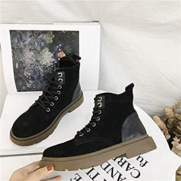 Shukun Botines PU Martin Boots para Mujer de Primavera y otoño Invierno con Botas de tacón