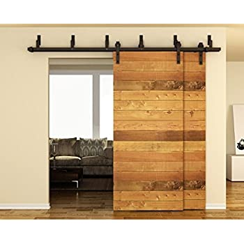 TCBunny 6.6 FT Bypass Double Door Sliding Barn Door Hardware, Black, J  Shape Hangers, 2 X 6.6 Foot One Piece Rail