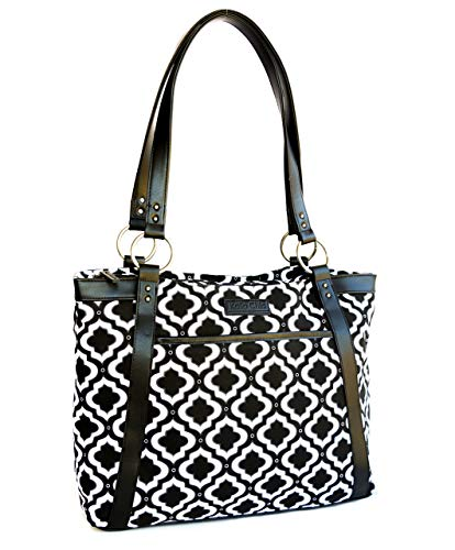 Kailo Chic Casual Laptop Tote Bags (Black and White Moroccan) ()