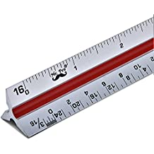 "Mr. Pen - Architectural Scale Ruler, 12"" Aluminum Architect Scale, Triangular Scale, Scale Ruler for Blueprint, Triangle Ruler, Drafting Ruler, Architect Ruler, Metal Scale Ruler, Architecture Ruler"